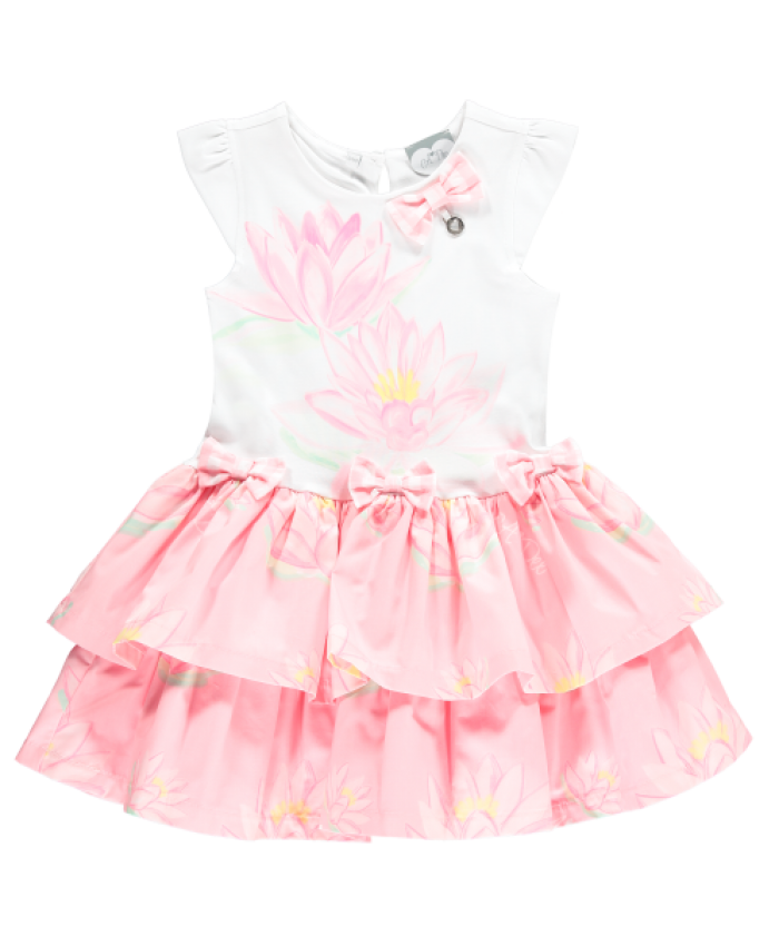 Ariana Dee Waterlily Frill Dress Pink Lily dot