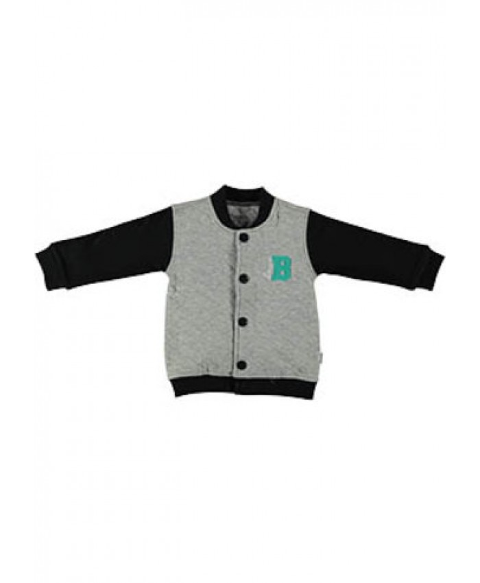 b*e*s*s newborn Basebal cardigan  boys grey  navy  style