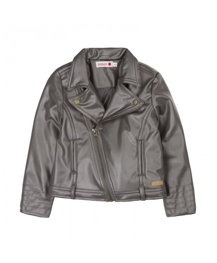 Boboli Fake  Leather  Jacket For  Girls Taupe -grijs