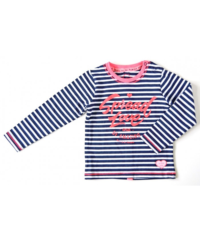 Born to be famous tricot shirtje navy stripe