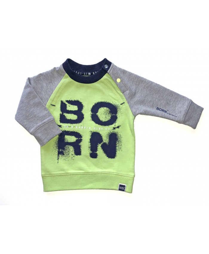 Born To Be Famous Sweater  Neon  Yellow Grey