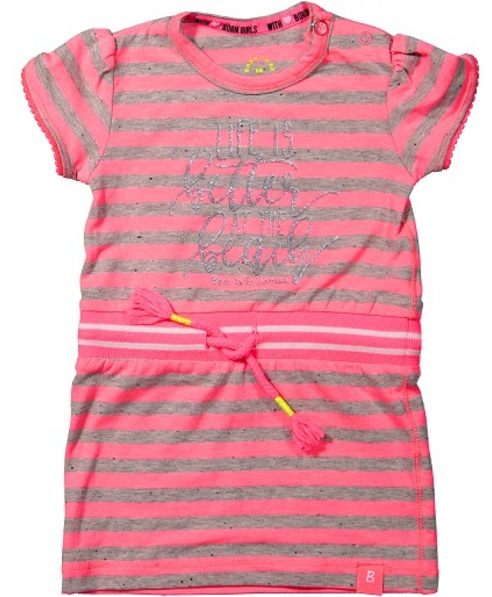 Born to be famous tricot dress stripe neon pink