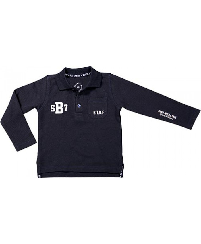 Born to be  famous polo  lm. navy