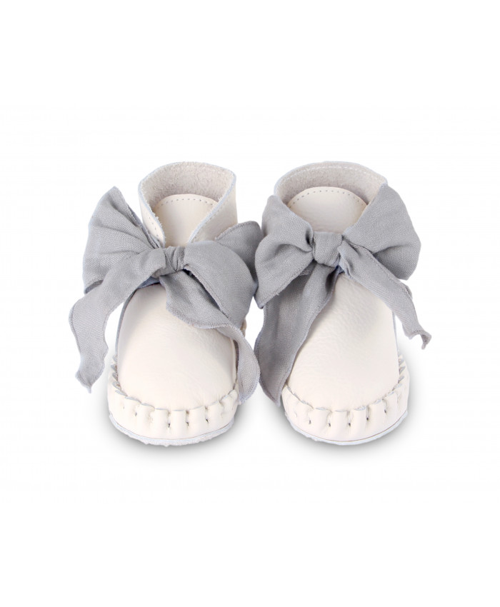 Donsje  Pina Organza shoes off white leather grey +linnen