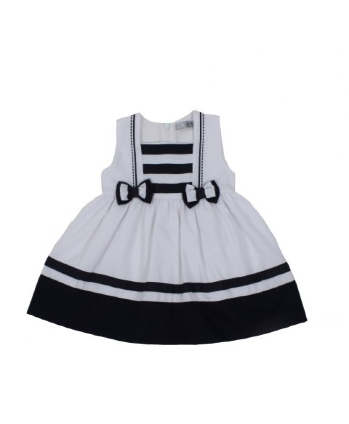 Dr.Kid Baby Girl Dress White -Navy